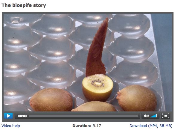 VIDEO - The biospife – a spoon-knife utensil for eating kiwifruit – is made from an innovative bioplastic material developed through a partnership between ZESPRI and Scion. The biospife demonstrates that kiwifruit residues can be incorporated into a compostable bioplastic material for use on standard plastics processing equipment.