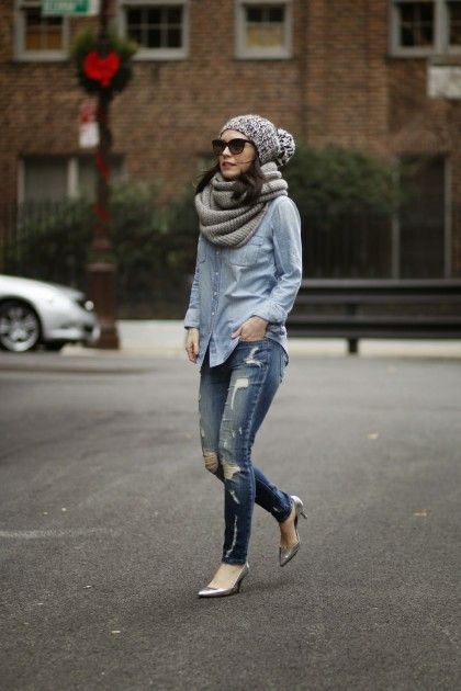 Chambray, distressed denim, and a beanie | theglitterguide.com