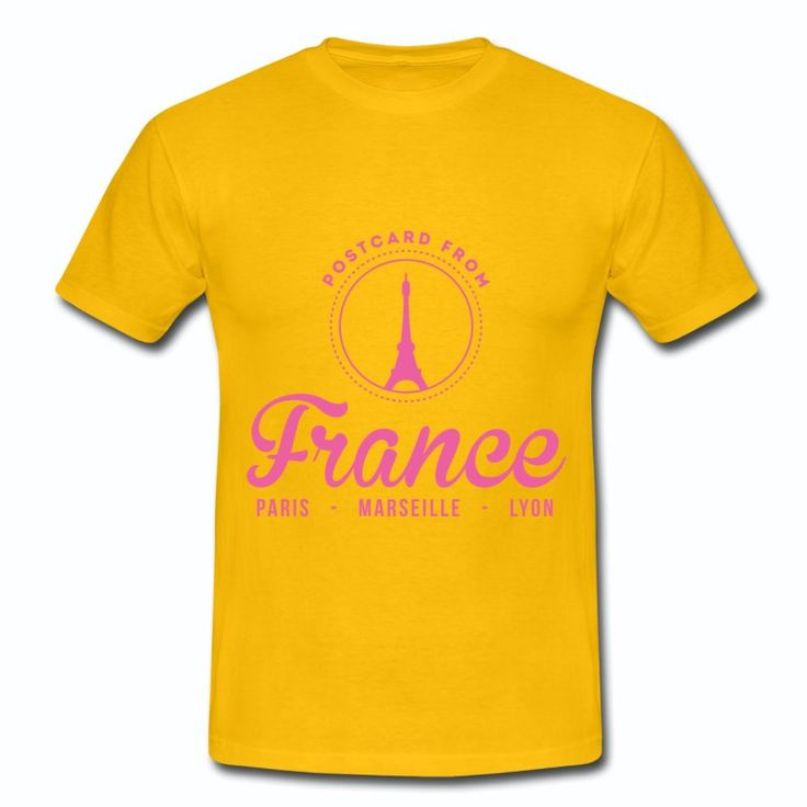 Tee Shirt Jaune France Post Card Paris Marseille Lyon Tour Eiffel
