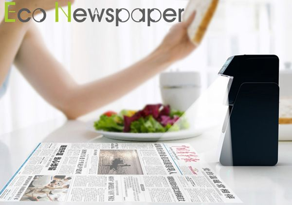 With the advent of e-readers and tablets, the way we consume newspapers has changed drastically. To keep up with the trend is the Eco-newspaper, a projector device that projects the daily news to the table countertop while you flip through your favorite paper. The idea is not only to use technology to its best advantage, but also to cut down on the newspaper waste and conservation. Digital reading is here to stay, so I guess traditionalist will have to adopt it one day!     Designer: Shen…