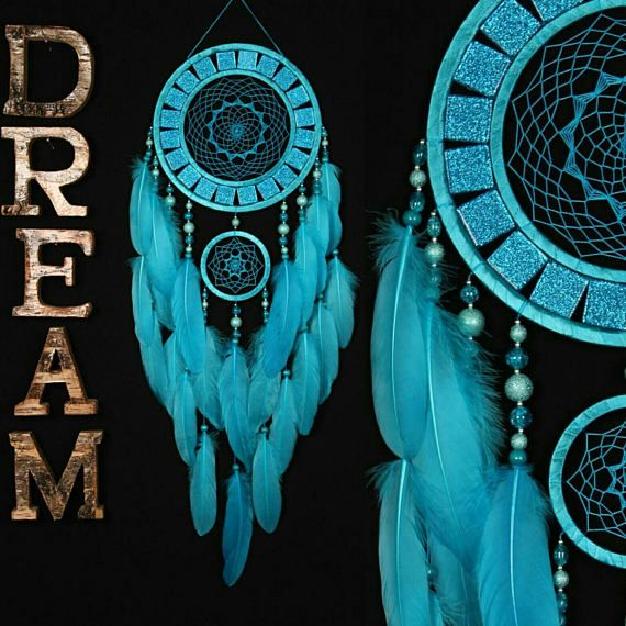 Dreamcatcher blue Dreamcatcher mosaic wall native american Large turquoise Dreamcatchers boho Indian talisman gift wall hanging boho decor    Symbolism of turquoise color  The name of this color comes from the name of the mineral - turquoise. The turquoise color is the color of the cyan, that is, the color of the sea wave with different shades of green and blue. In ancient times this stone was attributed to mystical and magical properties. It was believed that turquoise protected people from…
