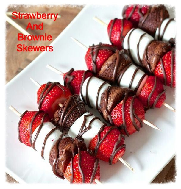 Strawberry And Brownie Skewers..what a cute, easy dessert..go to cookiescrumbsandchickens.blogspot.com for the recipe