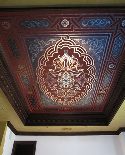This would make an awesome floor cloth as well. Dining Room ceiling created with a Modello Carpets & Panels vinyl stencil (ChavallCC105). Artists: Anna & Scott Sadler (AZ).