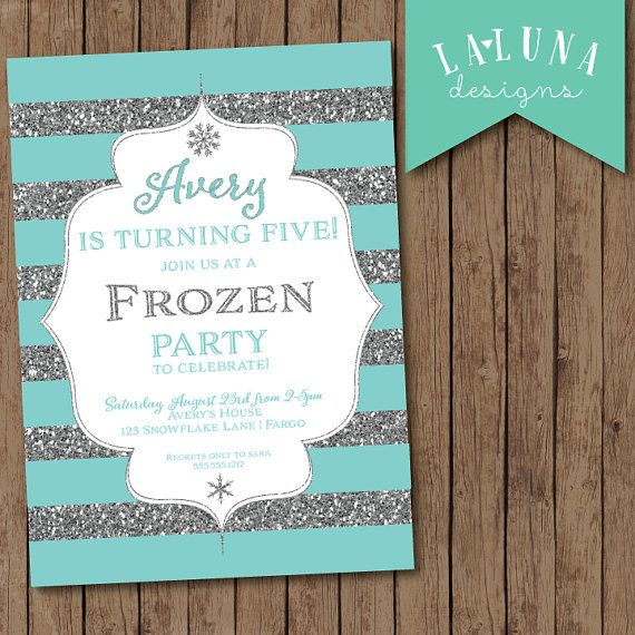 Frozen Birthday Invitation, Frozen Invitation, Frozen Party Invitation, Frozen Birthday, Glitter Invitation