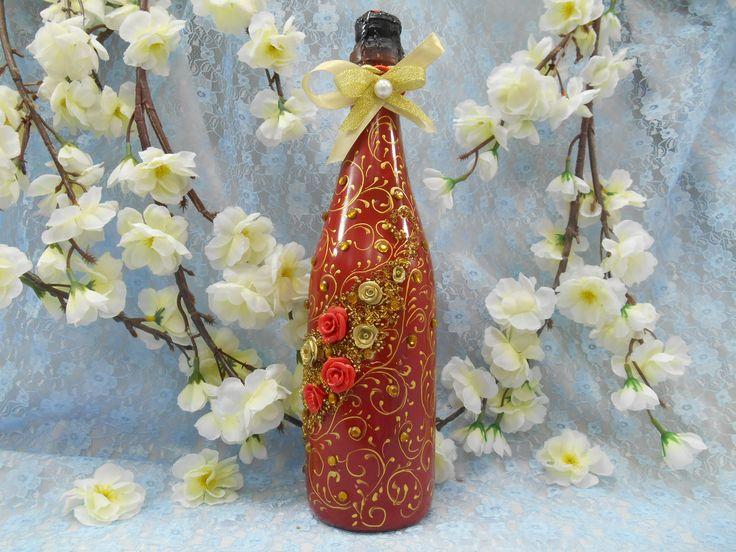 """Свадебное шампанское с декором ручной работы из серии """" Танго Любви""""."""