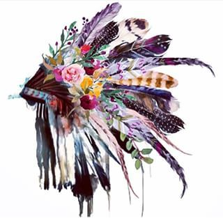 indian headdress painting - I'd love to have this as a tattoo with watercolour:D 42