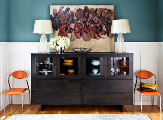 Trad Home: Decor, Dining Rooms, Wall Colors, Colors Combos, Paintings Colors, Colors Schemes, Orange Chairs, House, Teal Walls