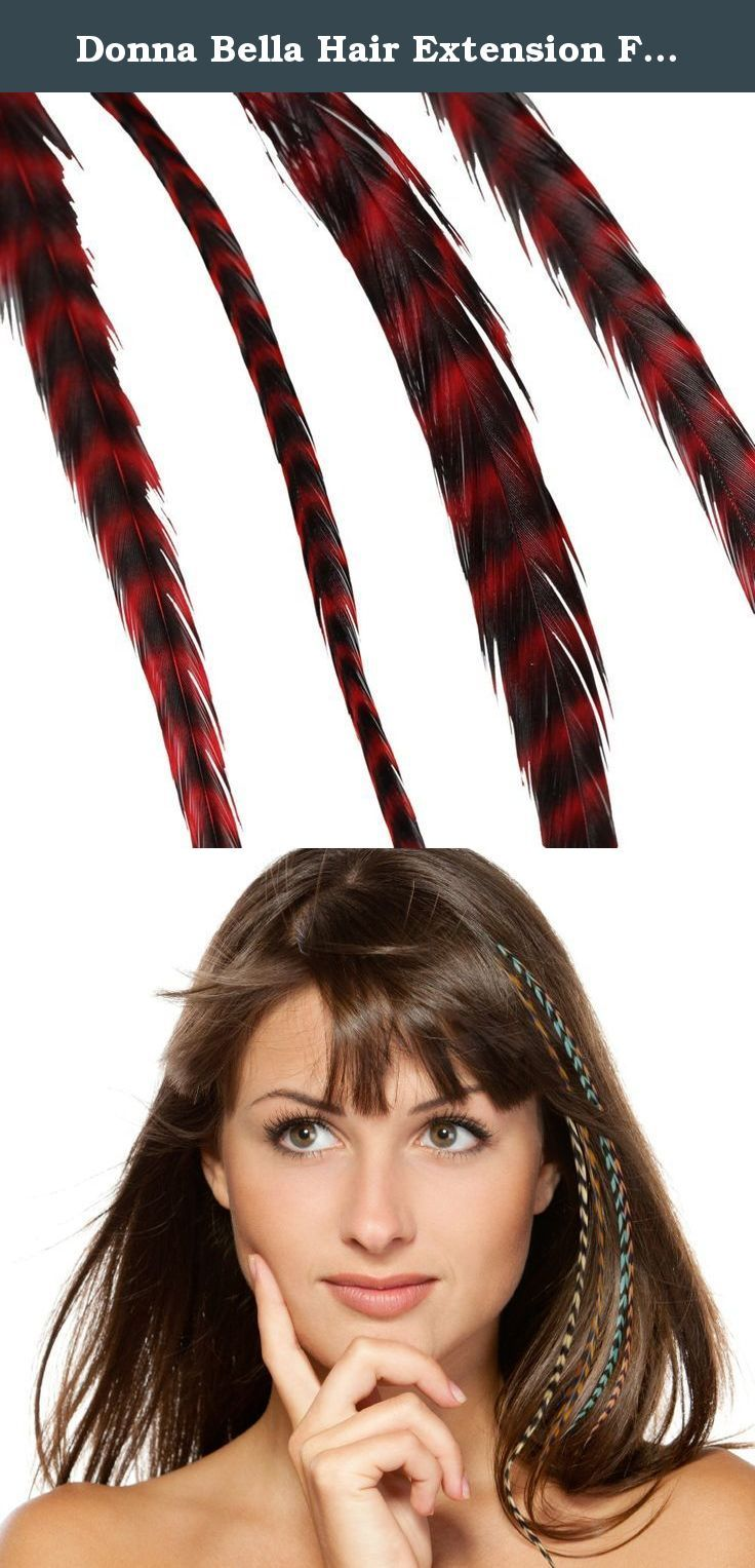 Donna Bella Hair Extension Feathers, Striped Red, 7-12 Inches. Each package of hair feathers contains four one-of-a-kind, premium feathers. Each feather is unique and therefore will vary slightly in size, color and shape. However, you can expect your hair feathers to be approximately 7-12 inches in length. These unique feather extensions can help add exciting colors, texture and highlights to your hair. Blends with your natural hair and lasts for months. Donna Bella hair feathers are made...