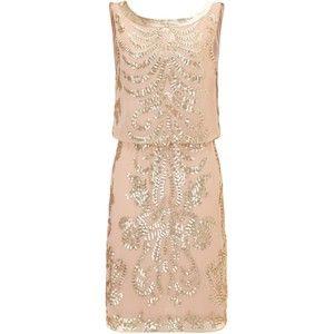 Ariella Beige tara sequin short dress