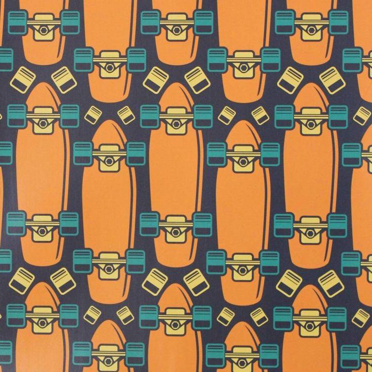 Papel de parede esporte skate em cores laranja, amarelo e azul 009