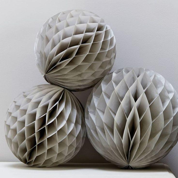 Grey Honeycomb Balls - Christmas Metallics