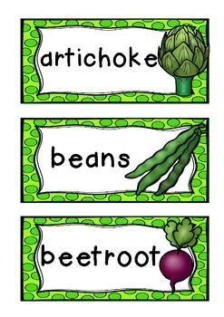 A cute set of 35 common VEGETABLE  words.*35 words * great for displays and word walls* can be used for games or oral language work* can be used for literacy centers (ie count the syllables)* can be used for sorting and categorising Prefer a different font?