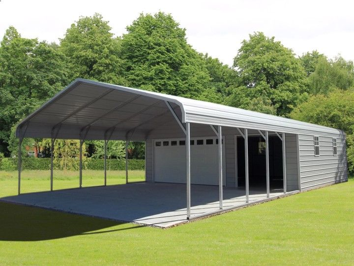 Our metal Carport and Garage Building hybrid design joins an open roof cover to enclosed secured 1, 2 or 3 car garages at the best steel building prices.