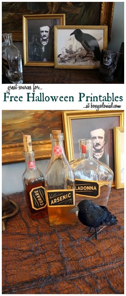 """DIY - """"The Raven"""" Halloween Vignette + Fun with Printables (Source : http://boxycolonial.com/the-raven-halloween-vignette-fun-with-printables/ + http://www.countryliving.com/crafts/projects/apothecary-inspired-labels#slide-3) #halloween #decor"""