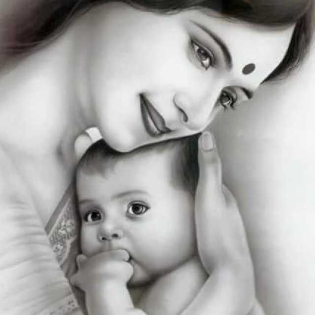 Mother loves baby (With images) | Baby sketch, Mother and baby ...