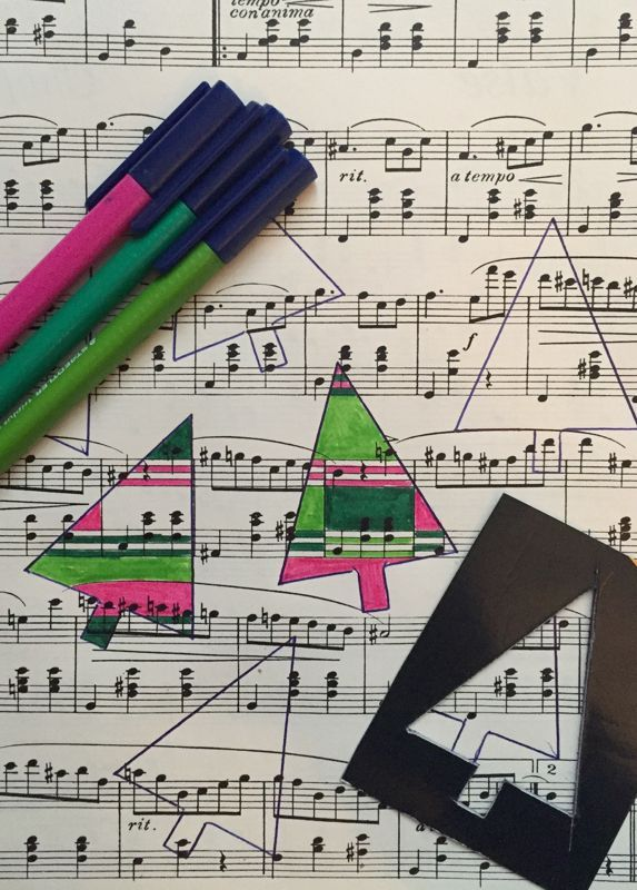 The ImaginationBox: festive tree doodles on manuscript paper - a fun way for all ages to make unique Christmas cards and gift tags, or just to doodle and relax
