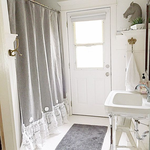 French Country Shower Curtain Grey Ruffle Shabby Chic