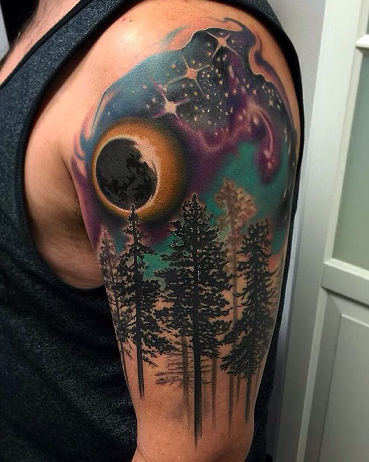 """""""We love this gorgeous #forest #galaxy night sky #tattoo by the awesome @davidmushaneytattoos who we are so happy to have as a part of several of our…"""""""