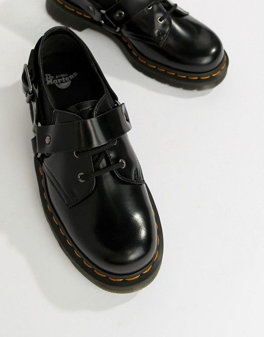 Dr Martens Fulmar Black Leather Harness Flat Shoes in 2019  4ba5aa001