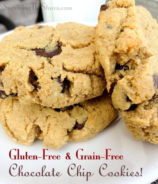 Gluten-Free & Grain-Free Chocolate Chip Cookies made with coconut flour!!  These are SOOO good!