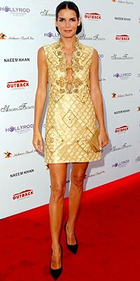 ANGIE HARMON  GOLD BROCADE DRESS