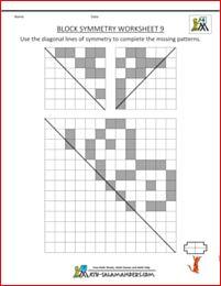 Block Symmetry worksheet 9 with diagonal lines of symmetry