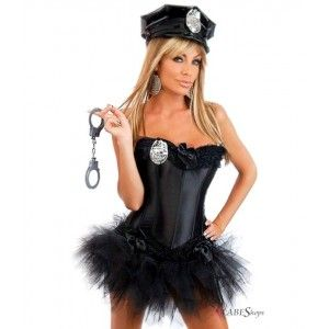 Ms Officer Police Womens Corset Costume Price: $88.50  Beautiful black satin strapless corset has ruffles and satin bow accents at hem and bustline. Lightly boned for great support it has a lace up back and hook and eye side closure for easy on and off. Comes complete with the black pettiskirt toy handcuffs hat and badge. Take the badge off and wear well past Halloween! #cosplay #costumes #halloween