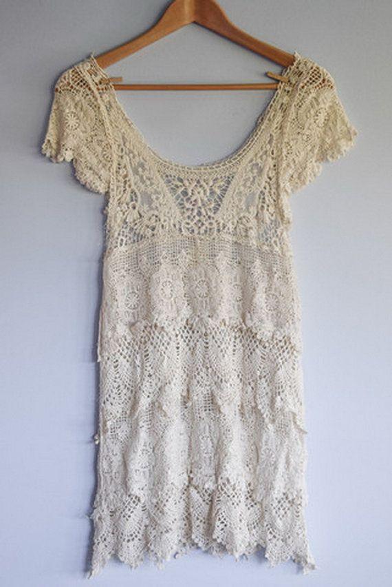 Courte robe en dentelle Boho / romantique Crochet Gypsy plage Cover / / fée cires / / plafonné à manches robe de dentelle / / crème, robe blanche