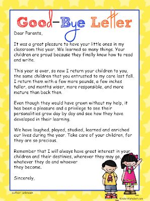 Check out different good-bye letter and poem options (some have rhyming lines) as well as a few gift ideas!