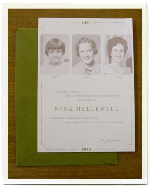 Sweet 90th Birthday party invitation -- go to inch mark blogspot for more in ideas for 90th decorations -- so sweet