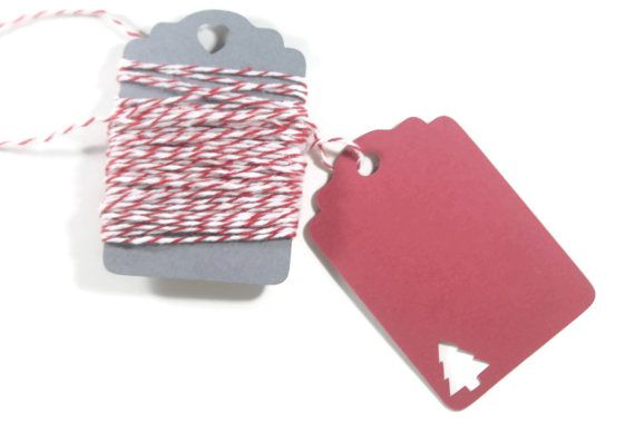 Christmas Gift Tags  Set of 10  Red Tags with by ThePaperMedley