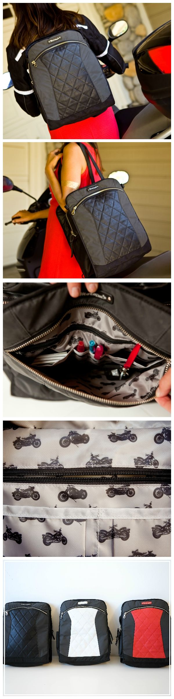 "A Stylish Alternative to a Motorcycle Bag Specifically For Women  @gearchic  reviews the Lauren convertible backpack + tote:   ""A lot of little compartments and organizing little spaces inside the bag, which I think a lot of us can appreciate. Because you know we carry a lot of stuff. We carry pens and keys and books and wallets and makeup, and all kinds of things we want to bring to work for that day so this is a good option if you want to commute."""