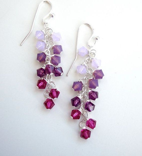 Amethyst Swarovski Crystal Dangle Earrings