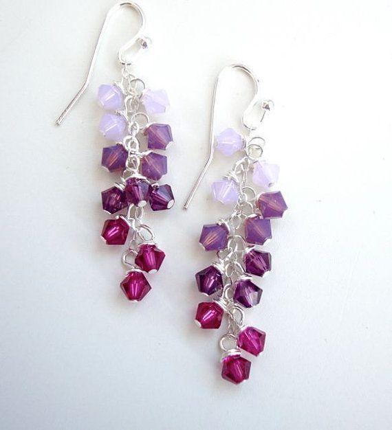 Amethyst Swarovski Crystal Dangle Earrings