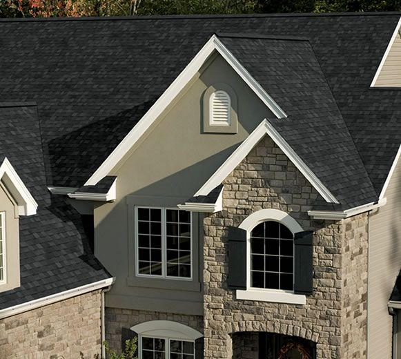 11 best images about owens corining onxy black true for Black roof house