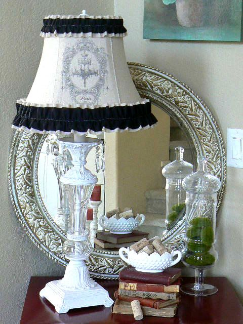 Lamp shade linen paris shabby chic with black ruffle and framed chandelier 75 00 via