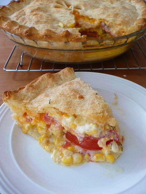 Fresh summer corn, tomato, and cheddar pie