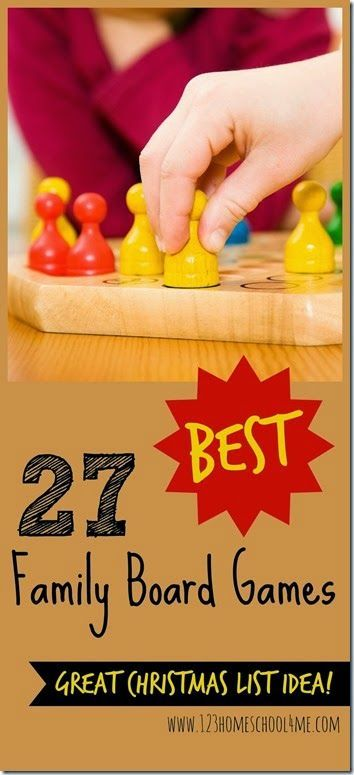 27 Best Family Board Games - great list of board games families will want to play together. Great Christmas present ideas for families, parents, kids (kids activities, family activities, family fun night)