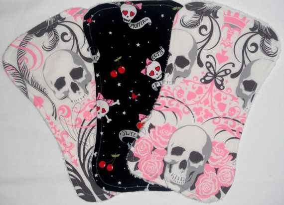 Burp Cloth Set of 3 Pink Skull Baby by SweetTeaPie on #Etsy, $18.00 #handmade