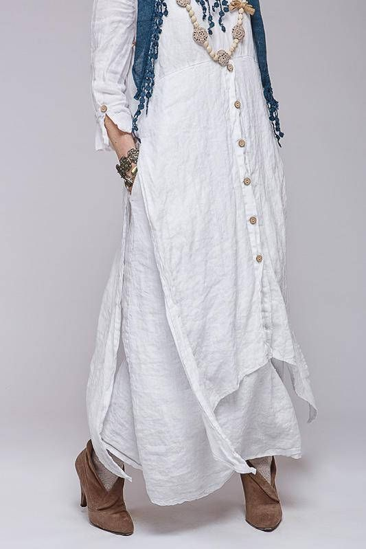 Boho style pure linen dress