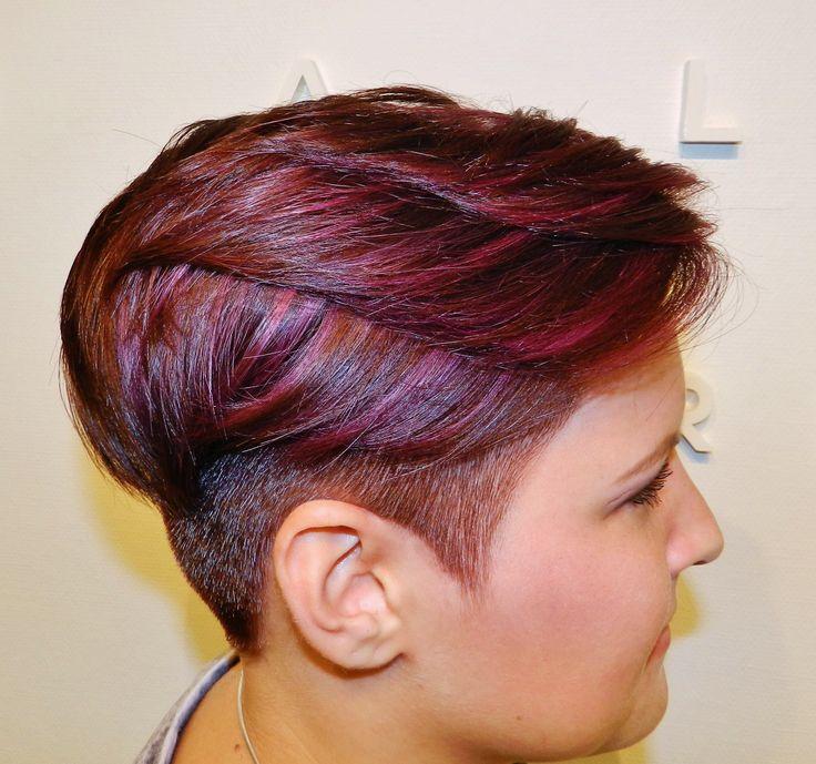 Warmbrown & red/violet color with undercut by Jessica --> Salon du Trezo.