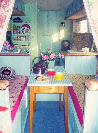 Rent a restored trailer with vintage charm for a one of a kind vacation experience. The bright patterns with the chalky pastel walls make this trailer reno unique.
