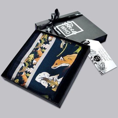 c255a07d29f4 Country inspired menswear gift with Fox design. Silk Handkerchief in Copper  and Dark Green by Becca Who