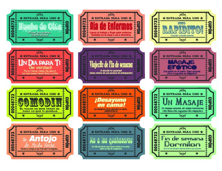 Spanish version - Printable Love coupons for wife/husband - boyfriend/girlfriend…