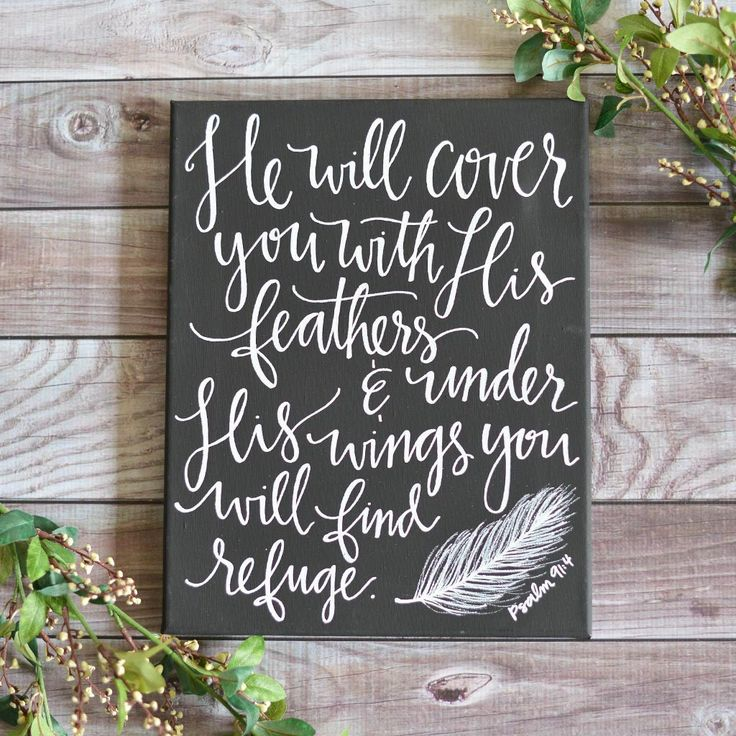 Psalm 91:4 Chalkboard Canvas