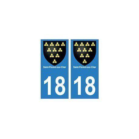 18 Saint-Florent-sur-Cher blason autocollant plaque ville – droits: Autocollant plaque immatriculation département 18…