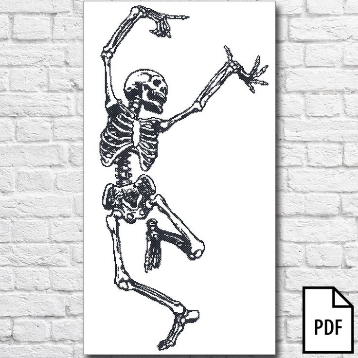 Dancing Skeleton Cross Stitch Pattern [PDF FILE] by Kaplio on Etsy https://www.etsy.com/listing/209888249/dancing-skeleton-cross-stitch-pattern