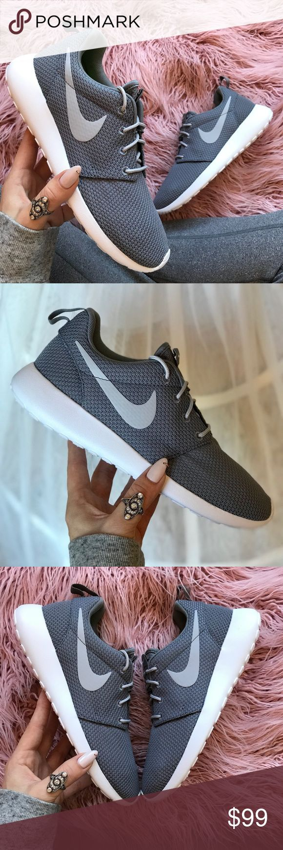 NWT Nike ID Roshe wolf 🐺 Grey Custom Brand new no box,price is firm!!custom made Nike ID. Everywhere you look, you can see ladies rocking a pair of women's Roshe Ones. They're one of the most versatile shoes from Nike. Wear them with or without socks, dress them up or down — the Roshe One can do it all. Its superior ventilation comes from the ultra-lightweight mesh textile or suede upper, offering you the breathability your feet need.  The full-length Phylon™ midsole provides all-day…