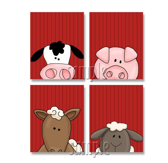 PEEKING Farm Animals Artwork Set of 4 8x10 Art Prints On the Farm Nursery Bedroom Art