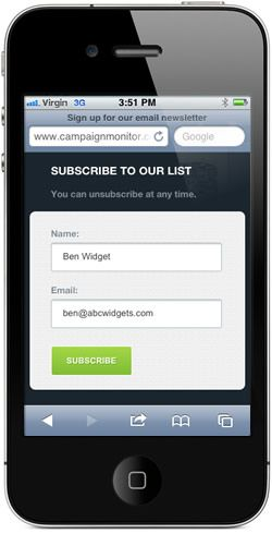 Mobile subscription form